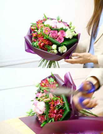 cách bó hoa tròn đơn giản dễ thương