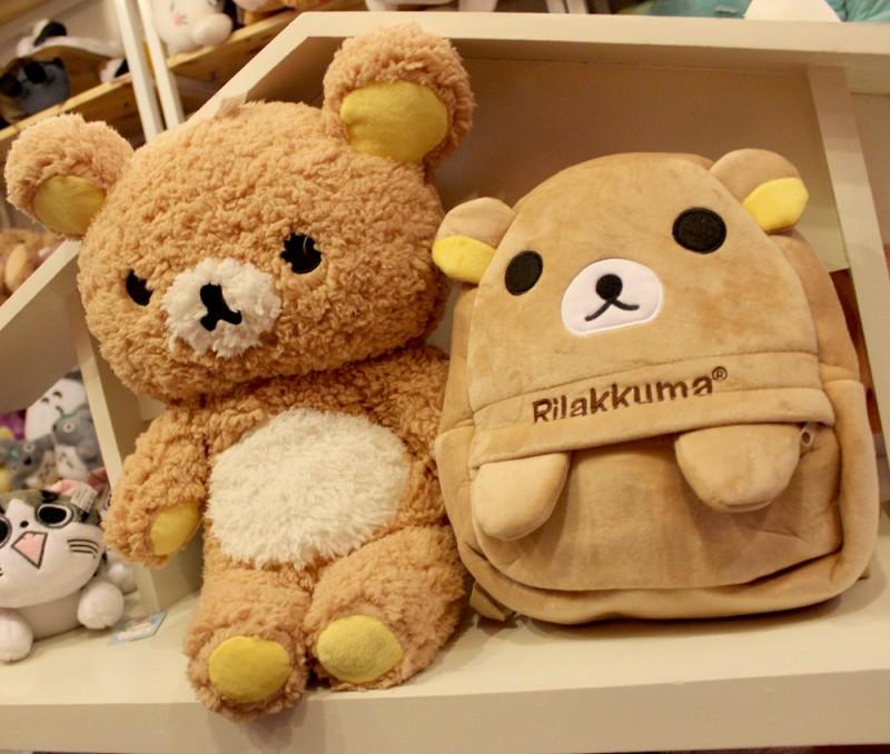 Bộ gấu bông và balo Rilakkuma cho bé đi học