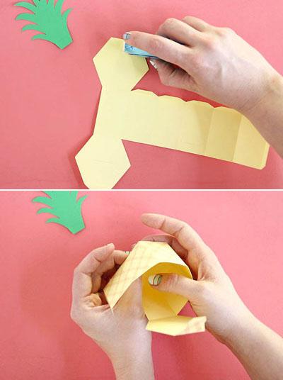 Tự làm hộp quà tặng hình trái dứa