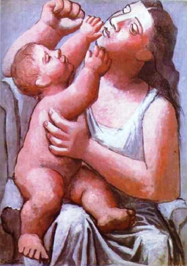 Chân dung Koklova và con trai