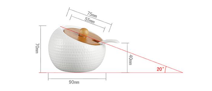 Bộ 6 hũ tròn nghiêng đựng gia vị giá gỗ 2 tầng