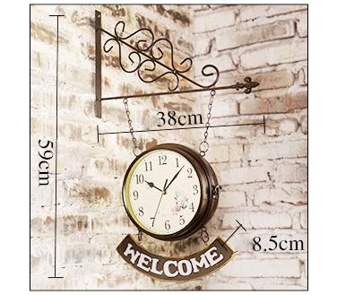 đồng hồ treo tường 2 mặt welcome