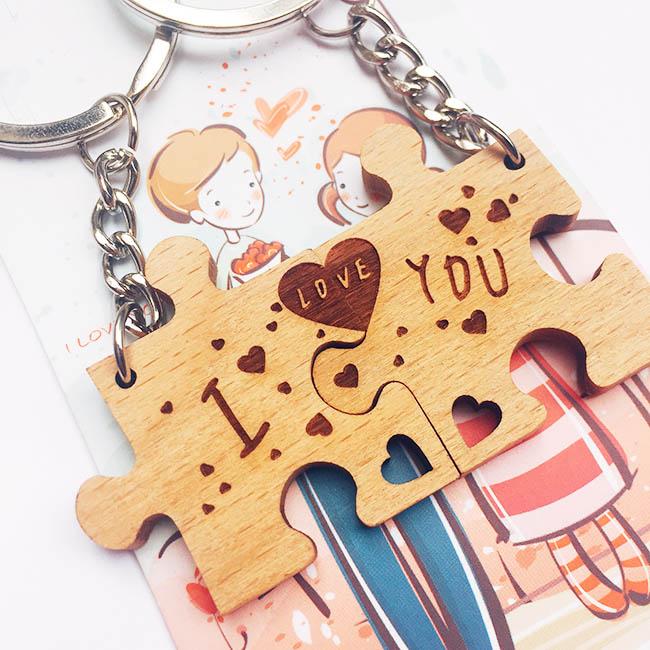 móc khóa cặp đôi mảnh ghép tình yêu