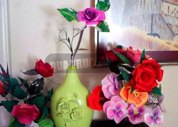 Hoa hồng xinh làm từ lon nước ngọt