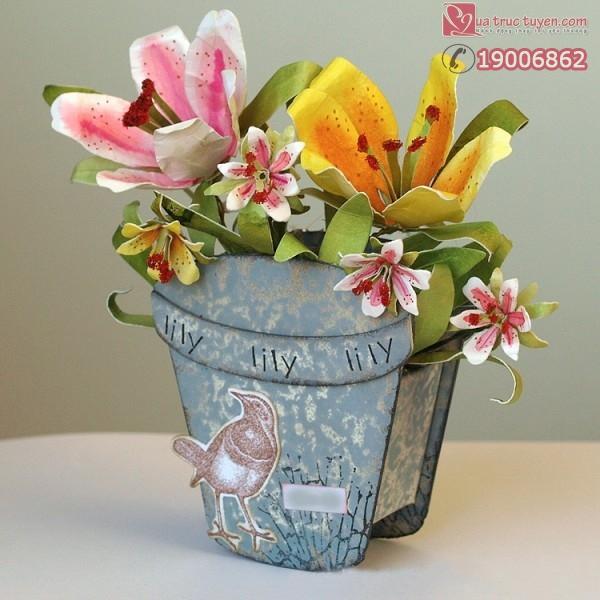 Dùng giấy làm hoa ly giả rực rỡ như hoa thật 15
