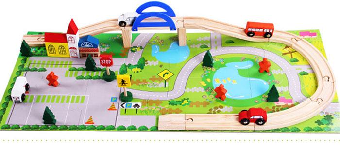 Bộ đồ chơi xếp hình cầu đường giao thông bằng gỗ
